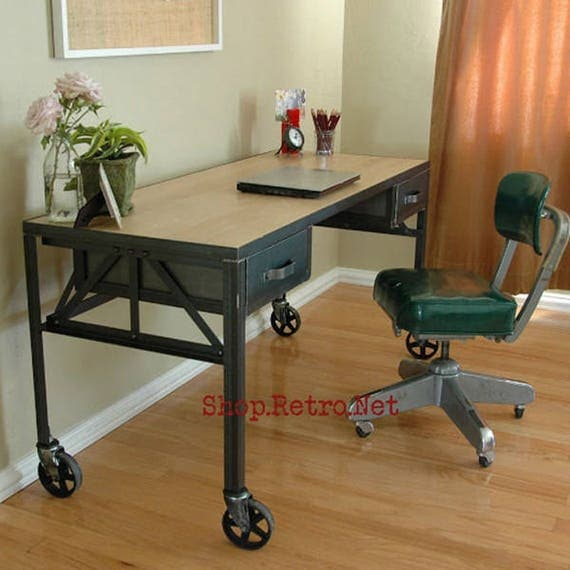 Royston French Industrial Desk On Casters / Vintage Work Table
