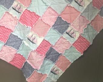 Nautical Rag Quilt- Crib Blanket- Baby Quilt- Baby Bedding- Patchwork Quilt- Nautical Baby Bedding- Nursery Bedding- Baby Blanket- Baby Gift