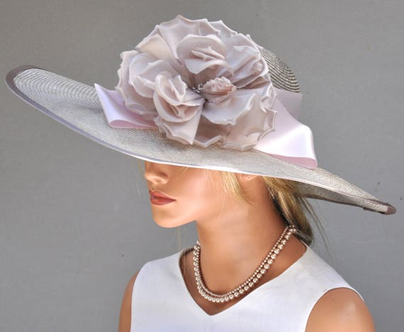 Couture Wedding Hat, Formal Millinery, Kentucky Derby Hat, Wide Brim Hat, My Fair Lady Hat, Mother of Bride Hat Dressy Hat, Elegant Ascot Ha