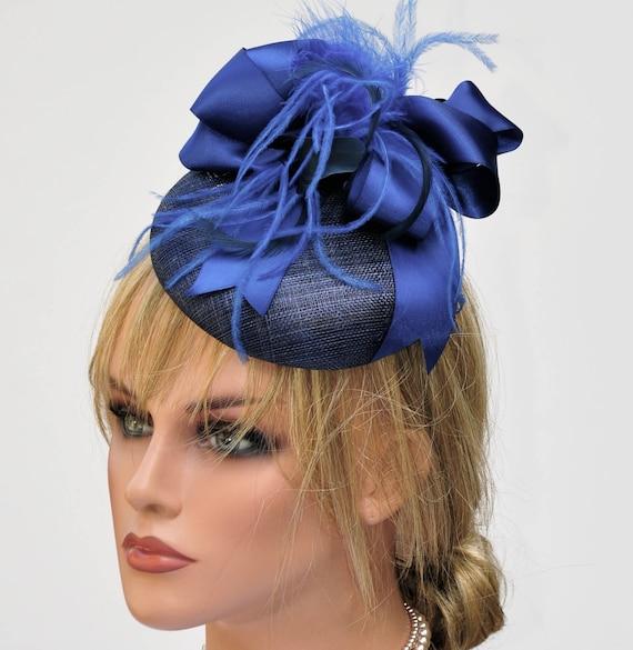 Ladies Navy Hat, Women's Blue Hat, Blue Fascinator, Pillbox Hat, Cocktail Hat Formal Hat Elegant Hat Navy Headpiece, Button Hat Event Hat,