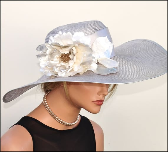 Wedding Hat, Kentucky Derby Hat, Church Hat, Ascot Hat, Horse race hat, Mother of Bride Hat. Formal Gray Hat, Women's Gray Straw Hat Dressy