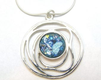 Summer Sale Amazing  925 Sterling Silver Roman Glass Pendant  Necklace