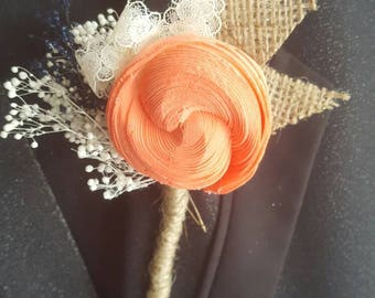 Wooden boutonniere,  sola wood flower,  coral and navy, sola flower boutonniere,  rustic boutonniere,  ready to ship