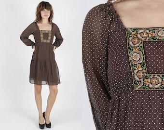 Brown Dress Prairie Dress Puff Sleeve Dress Floral Dress Boho Dress Vintage 70s Dress Swiss Dot Bib Embroidered Hippie Mini Dress S