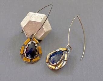 Blue Sapphire Mosaic Earrings