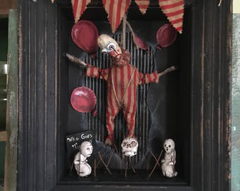 OOAK Macabre Diorama With Creepy Dead Clown Hanging Curiosity Dark Art Unique Gift Oddity Goth Freak Show Circus Carnival