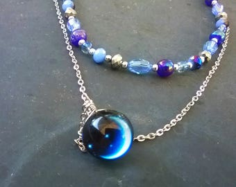 Crescent Moon Long Layered Boho Necklace - Celestial Moon Jewelry Royal Blue and Silver