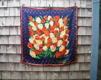 Dutch Tulips Silk Scarf - Holland Netherlands Souvenir - Bold Blue Red Yellow Green Orange