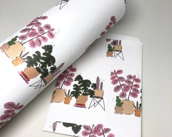 Plants Wrapping Paper, Holidays with My Plants Gift Wrap, Single Sheet Wrapping Paper, Pink Plants, Holiday wrapping paper