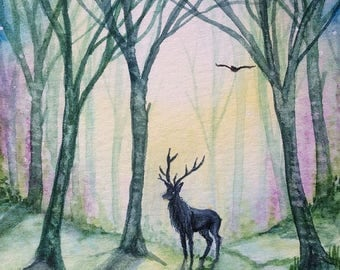"ACEO Print Stag ""Forest Dawn"""