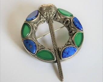 Vintage Miracle pennanular brooch.  Lapis lazuli brooch. Green and blue brooch. Celtic brooch