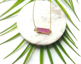 Geometric druzy necklace-crystal bar necklace-connector pendant necklace -24k gold dipped druzy