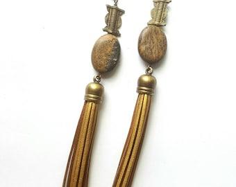 Gold lamé tassel earrings- bohemian earrings- extra long earrings// boho chic  dangle earrings