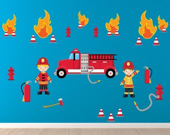 Fireman Wall Decal, Firetruck Wall Decal, Boys Room Wall Decals, REUSABLE Fabric Wall Decal, WD15