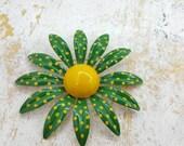 Jeanne signed Enamel  Green Flower Brooch Polka dots Retro Mod
