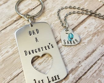 Dad - A Daughter's 1st Love Key Chain and Necklace Set with Little Girls Name and Birthstone on Heart Piece / Perfect for Father's Day