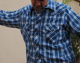 Vintage Blue Plaid Wrangler Shirt with Pearl Snap Buttons