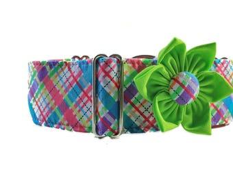 Plaid Dog Collar, 1.5 Inch Martingale Collar, Pink Martingale Dog Collar, Pink Dog Collar, Plaid Martingale Collar, Whippet Collar