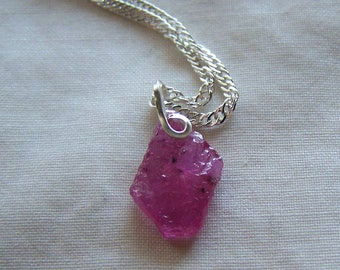 Gemmy Pink Ruby Raw Gemstone Record Keeper Pendant