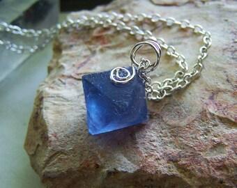 Blue Fluorite Octahedron New Mexico Crystal Pendant
