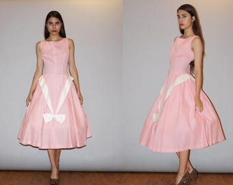 On SALE 45% Off - Vintage 1950s Gingham Pink Cotton Cupcake Pinup Bombshell Party Dress  - Vintage 50s Cotton  Dress - Vintage 50s Pink Dres