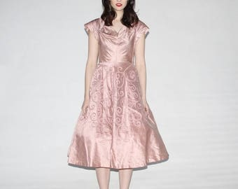 FLASH SALE - Vintage 1950s Blush Wedding Dress  - Vintage 50s Prom Dress - The She's Blushing Dress - WD0250