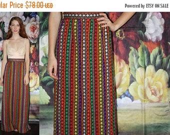FLASH SALE - Vintage 1960s Tribal Woven Hippie Rainbow Festival Long Maxi Skirt  - Vintage Maxi Skirts - Vintage Long Skirt  - WV0516