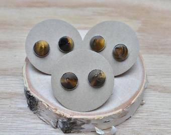 20% EARRING STUD SALE Tigers Eye Spike Point Silver Stud Earrings/ Gemstone Earring Post Stud/ Tigers Eye Spike Stud Point Cone/ Silver Edgy