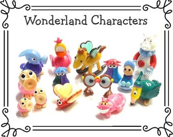 Cold Porcelain Clay Alice in Wonderland Figurines, Ornaments, Alice in Wonderland Cake Topper, Alice in Wonderland Characters, Fan Gift