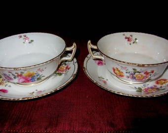 4 PC Royal Crown Derby Cream Soups/with Underplate-Posies Pattern Circa 1930's