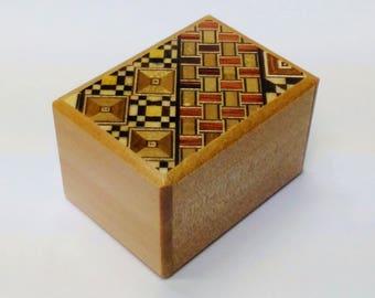 Japanese Puzzle box (Himitsu bako)-2.40inch (2 sun) 10 steps Yosegi/Natural wood