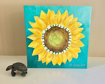 Golden Sunflower Art, 6x6 inch acrylic painting, art decor for home or office