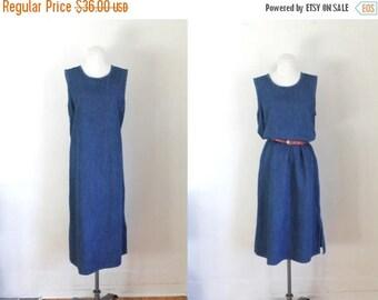 20% off SALE vintage denim dress - EASE dark denim sack dress / M-L