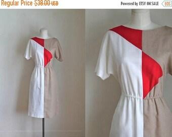 AWAY SALE 20% off vintage colorblock dress - HEART Breaker day dress / Xs-S