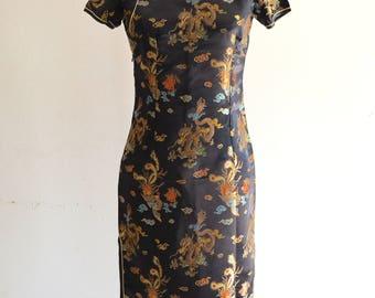 80s Cheongsam Japanese Traditional Asian Black Gold Red Long Slit Formal Evening Dress