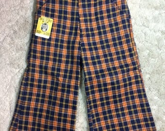 SUMMER SALE 1970s Deadstock Boys size 3 Plaid Flared Pants Hippy Buster Brown