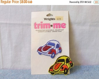 CLEARANCE Pair of Love Bug Volkswagen Beetle Patches - Iron On Sew on Embroidered Patch Applique for Crafts and Sewing