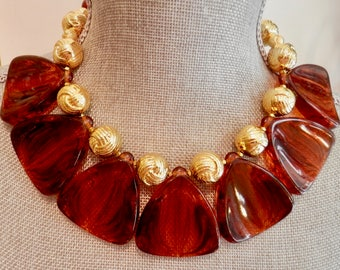 Artisan Necklace in Dark Amber / Tortoise Shell Color Lucite and Gold Tone Beads - Lightweight - Vintage Beads -Unusual But Classic Design