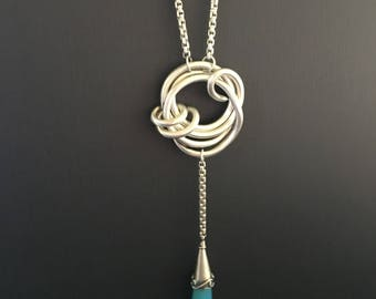 Love Knot Drop Necklace - 999 Fine Sterling Silver ~Hand forged ~ One of a Kind ~  Chalcedony gemstone drop ~Argentium 2.6 rounded box chain