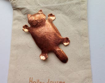cat brooch copper