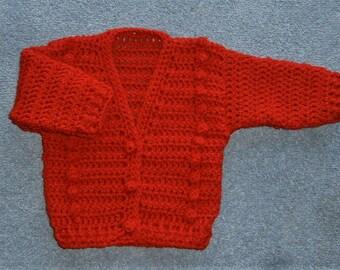 Cherry red baby V neck cardigan (ref 01271)