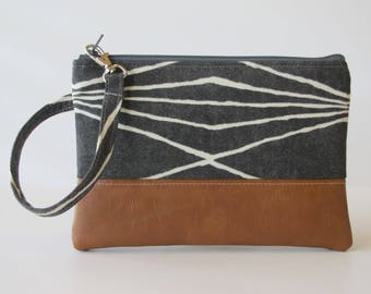 Grey  Wristlet, iPhone wristlet, Vegan Leather Clutch Purse, Cellphone Wristlet, Boho Zipper Pouch, Boho Clutch,Gift For Her