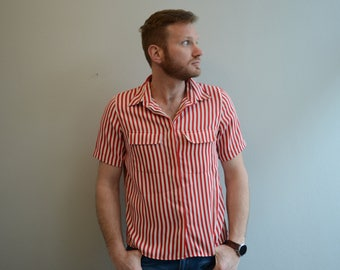 vintage Red and White Striped Blouse by Alfred Dunner