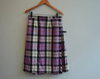 Vintage Purple Wool Kilt Scottish Highland Skirt by Moffat Weavers