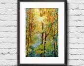 Autumn Trees Print from Original Watercolor