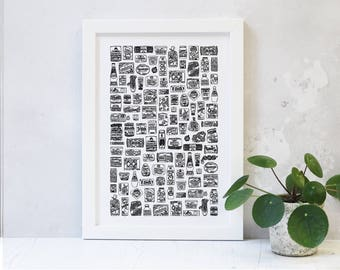 Food Cupboard Black Print - Gift for Foodies - Kitchen Art - Food Lover Gift