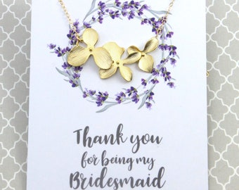 Bridesmaids Necklace Gift, Gold Orchid Flower Necklace, Wedding Bridal Necklace Gift, Avail. in Silver and Gold