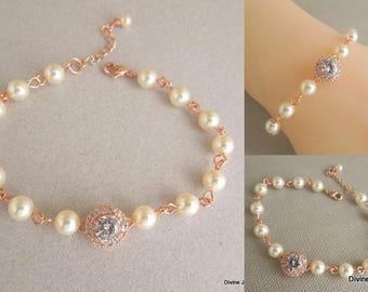 rose gold bracelet, Pearl bracelet, bridal bracelet, wedding bracelet, swarovski pearl bracelet, rhinestone bracelet, crystal bracelet, ZOE