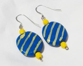 Blue and Yellow Kazuri Earrings