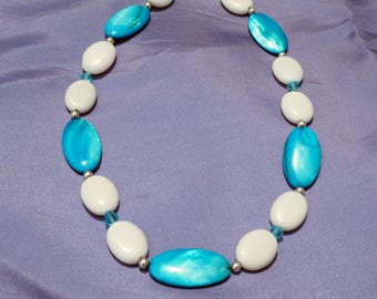 Mother of Pearl and Stone Necklace and Earring Set